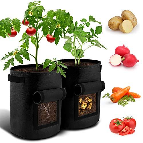 BROTOU Pflanzen Tasche Kartoffel Pflanzsack 7 Gallonen mit Griffen und Sichtfenster Klettverschluss,Dauerhaft AtmungsaktivBeutel Gemüse wachsen