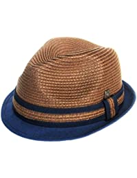 Trenzado Dasmarca Paxton Corto Brim Retro paja del verano del sombrero Trilby