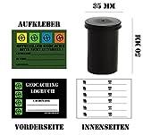 geo-versand Geocaching Versteck - Paket 10 x Filmdosen mit 10x Logbuch - 480 Logs 10 x Aufkleber