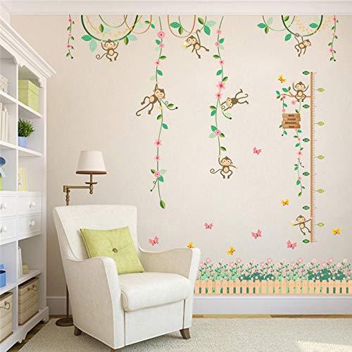 CJJCJJ Wandaufkleber Garden Monkeys Height Measure Wall Stickers for Kids Rooms Butterfly Fence Flower Height Chart 3D Nursery Room Decor Poster Monkey Telefon