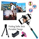 COOLNUT® Extendable Wired Selfie Stick Handheld Stick With Adjustable Phone Holder And Bluetooth Remote Shutter For Smartphones & Android Phones (Sel