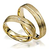 alianzas Oro 333Par de precio–neumode rnetrau anillos s 151de oro amarillo de 8quilates en eismatt con diamantes TW/SI