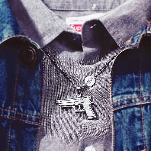 LIUSHUGUANG Hip Hop Punk Style Gold Farbe Edelstahl Desert Eagle Gun Anhänger Halskette für Herren Schmuck,Silver