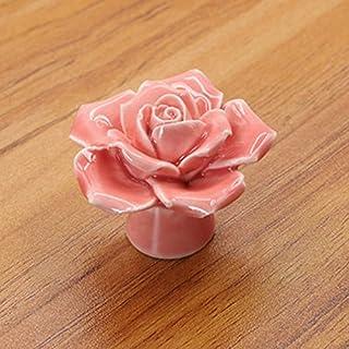 LanLan 5 Colors Vintage Rose Flower Ceramic Knobs Drawer Cupboard Door Porcelain Pull Handle 41x34x41mm,Pink