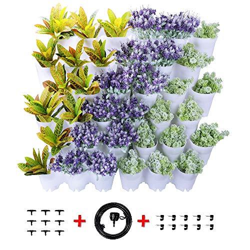Worth Garten Selbstbewässernd hängende Vertikal 36 Taschen Pflanzgefäße in 12 Set Paket Weiß, Wasserversorgung, mit Bewässerungssystem - Die Wand Hängen