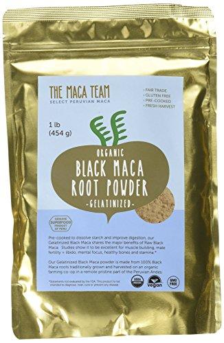 Polvere di radice di maca nera gelatinizzata – raccolta fresca in Perù, certificata biologica, da commercio equo e solidale, senza OGM, senza glutine e vegana – 500 g, 50 porzioni.