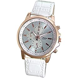 Silvercell Unisex Faux Leather Band Analog Quartz Wrist Watch White