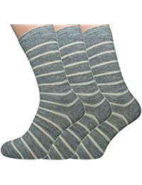 Loonysocks, 3 Pair of Our Best Business Socks Made of Super Soft Ascona Merino Wool, Mens Light Grey & Raw White Socks