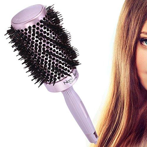 Spazzola agli ioni e ceramica nano 25mm / 53mm spazzole rotante e asciugante tecnologia antistatica per lo styling dei capelli volume, lucentezza e morbidezza (53mm)