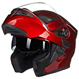 Modular Helmet Motorcycle Flip-up Helmet with Double Lens and Removable Lining (55-64cm),Red,M(55~58cm)