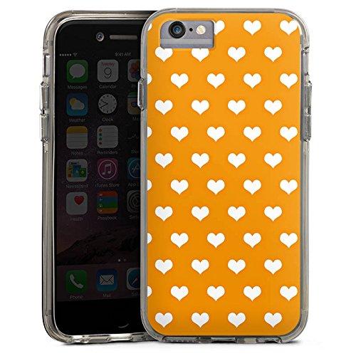 Apple iPhone 8 Bumper Hülle Bumper Case Glitzer Hülle Herzchen Pattern Muster Bumper Case transparent grau
