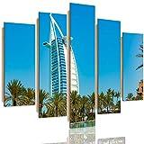 Feeby Cuadro 5 Partes Dubai Pintura Mural Arte Arquitectura Palmas Vista Azul 250x120 cm