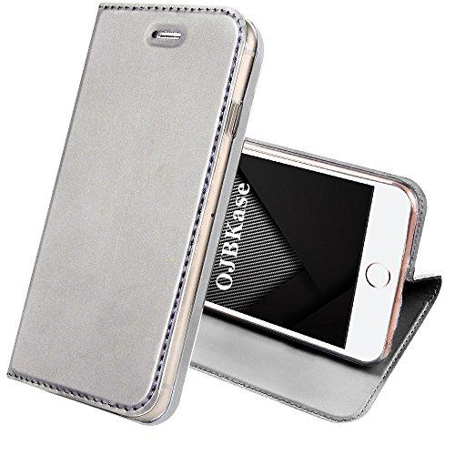OJBKase iPhone 5/5S/SE Hülle, Premium Slim PU Leder Schutzhülle [Kartensteckplatz] [Magnetisch] Brieftasche Ledertasche Tasche Lederhülle Handyhülle (Silber) ...