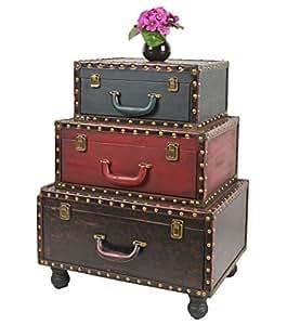 ts ideen koffer kommode mit kunstleder als schrank regal im vintage antik used look neu amazon. Black Bedroom Furniture Sets. Home Design Ideas