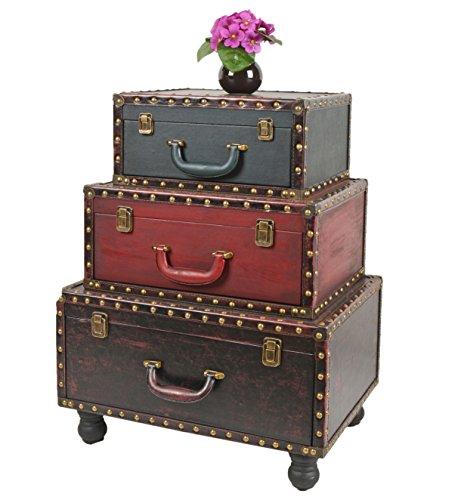 Mobiletto in stile vintage antiquariato con sagoma a bagagli impilati.