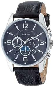 Fossil - FS4387 - Montre Homme - Quartz Analogique - Montre en Acier - Chronographe - Dateur - Bracelet Cuir Marron