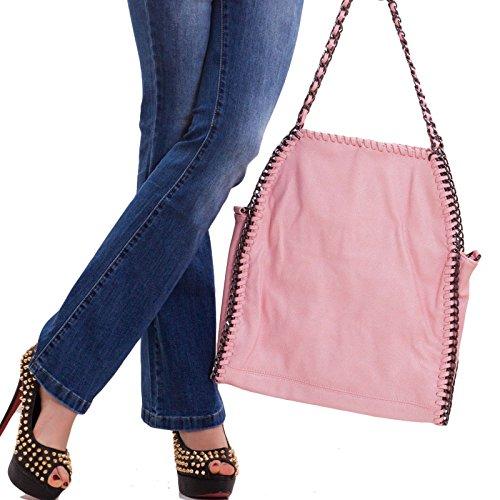Toocool - Borsa donna tracolla spalla catene borsetta catena ecopelle nuova 13117 Rosa