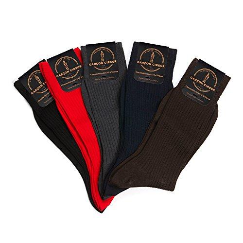 5 paires de chaussettes 100% fil d'Ecosse, Noir, Marron, Marine, Gris, Rouge + COFFRET LUXE