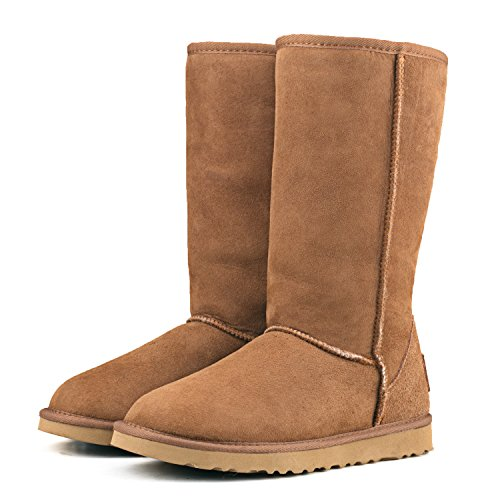 ShenDuo Damen Lammfell Stiefel Hoch Schlupfstiefel Winterschuhe Klassisch Boots DV5815 Chestnut