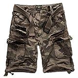 Geographical Norway Cargo Pantaloncini Pantaloncini Corti Bermuda con Cintura Breve Hunter IM Bundle con UD Bandana - Nero Camo, L