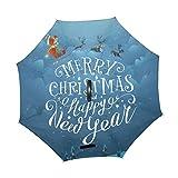 Alaza Merry Christmas Rentier Santa Schlitten seitenverkehrt Regenschirm Double Layer Winddichte Rückseite Faltbarer Regenschirm für Auto mit C-förmigem Henkel