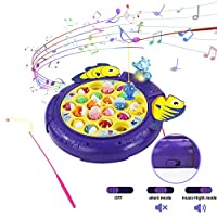 Fishing Game Fish Toy 2 in 1 Mode Musical Switch Rotating Board Games Fish Party Game for Kids Girls Boys 3 4 5 Years Old with Stickers