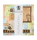 Ursus 703000277 - Premium Glitter Scrapbook paper Hot-air balloon, ca. 30,5 x 30,5 cm, 5 Blatt, Motiv 277