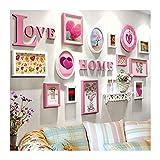 KF Einfache rosa Wand Dekoration Foto Wand, Massivholz Kombination Wohnzimmer Schlafzimmer Bilderrahmen 5 Zoll 7 Zoll 10 Zoll