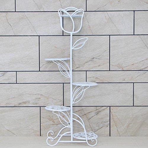 CS Support de fleur de fer salle de séjour d'intérieur Type de plancher Planter d'usine Plateau Multi-étages Simple Style ( Color : White )