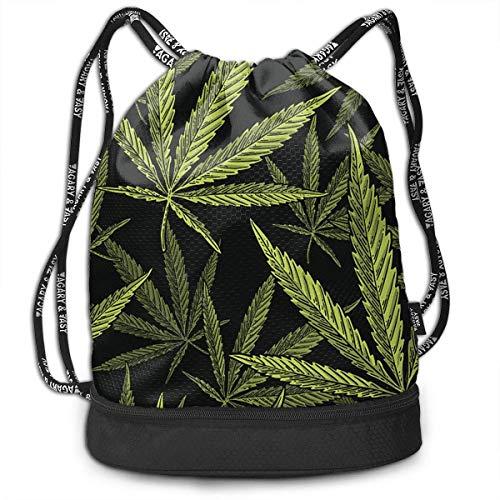 Rucksäcke,Sporttaschen,Turnbeutel,Daypacks, Drawstring Backpack Bundle Gym Bike Duffel Bag Knapsack Fashion Waterproof Sport Bag for Men Woman School Travel Top Cannabis Leaf Clip Print Pack -
