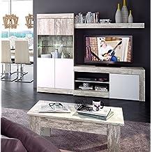 Mobelcenter - Mueble Salón Logan 005 - 215 x 39,8 x 170,5 Blanco y Vintage (0773) + Envío Gratis