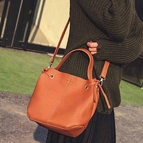 2017 NUOVO Borse donna,Kangrunmy Pelle di modo delle donne del litchi Stria borsa Crossbody borsa a spalla + Wallet Clutch Marrone