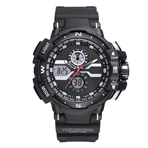 Reloj Hombres Reloj Deportivo Reloj Multifuncional Impermeable De Doble Pantalla LED con Pantalla Táctil...