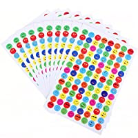 BESTIM INCUK 20 Sheets Smile Face Stickers Teachers Parents Reward Stickers for Kids Children Students, Yellow, Red, Blue, Green