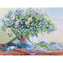 GMMH Diamond Painting Juego de 14x 18Diamante Pintura bordado mano Manualidades mosaicos Primavera Flores azules