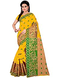 ROYAL EXPORT Women's Cotton Silk Saree With Blouse Piece (Sailsh Yellow Mor ,Yellow Free Size)