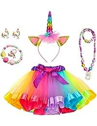 Yansion Faldas Tutu Tul para Niñas,Arco Iris Tul Capas de Faldas Ballet Danza Faldas Tutu Vestido Ropa para Niñas Regalo De Cumpleaños (con Diadema de Unicornio)