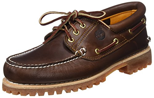 Timberland Herren Authentic 3 Eye Classic Lug Outsole (wide fit) Bootsschuhe, Braun (Brown Pull Up), 44.5 EU