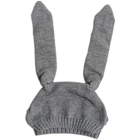 POTOBrand, niño niños niño niña punto ganchillo conejo oreja gorro invierno caliente sombrero