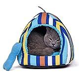 zhou-Haustier, Haustier Katze Hund Bett Schlaf Tasche Haustier Babys Welpen Höhle Bett ( Color : Blue , Size : L )