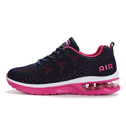 Axcone Homme Femme Air Baskets Chaussures Outdoor Running Gym Fitness Sport Sneakers Style Running Multicolore Respirante-Rouge Bleu 39