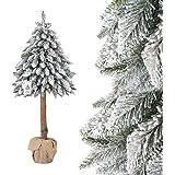 FairyTrees künstlicher Weihnachtsbaum im Topf FICHTE NATURSTAMM, mit Schneeflocken, Material PVC, Baumstamm aus echtem Holz, 150cm, FT21-150
