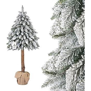 Wie Entstand Der Weihnachtsbaum.Fairytrees Weihnachtsbaum Künstlich Im Topf Fichte Naturstamm Mit Schneeflocken Material Pvc Baumstamm Aus Echtem Holz 150cm