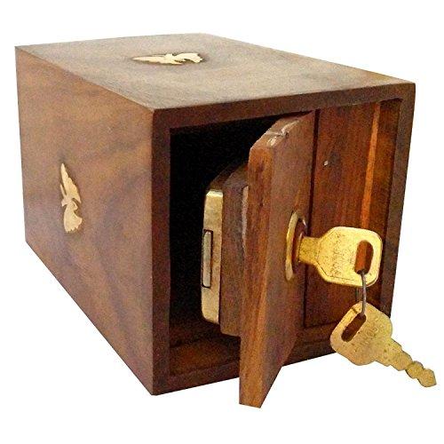 Valentinstag Geschenk für Geliebte Handarbeit aus Holz Spardose Tresor Piggy Bank für Mädchen und Jungen 12,5 X 10 X 15 cm, Square Style Holz Piggy Bank