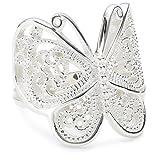 Vinani Ring Schmetterling Paisley glänzend Sterling Silber 925 Größe 58 (18.5) RSL58