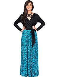 KOH KOH® Damen Langarm Cross-Over Wrap Maxikleid Muster Farbige Paisleymuster Grafik Cocktail Gown