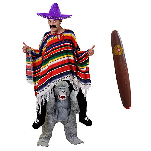 ILOVEFANCYDRESS Gorilla -Pick ME UP (TRAGE Mich)(HEBE Mich HOCH) KOSTÜME VERKLEIDUNG = Gorilla+Poncho+LILA Sombrero+Plastik ZIGARRE+Schnurrbart =Fasching Karneval Halloween Unisex