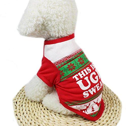 Sannysis mascotas ropa navidad traje de perrito de camiseta de algodón Ropa Chalecos Disfraces mascotas ropa perros pequeños feliz navidad decoración (S, Rojo)