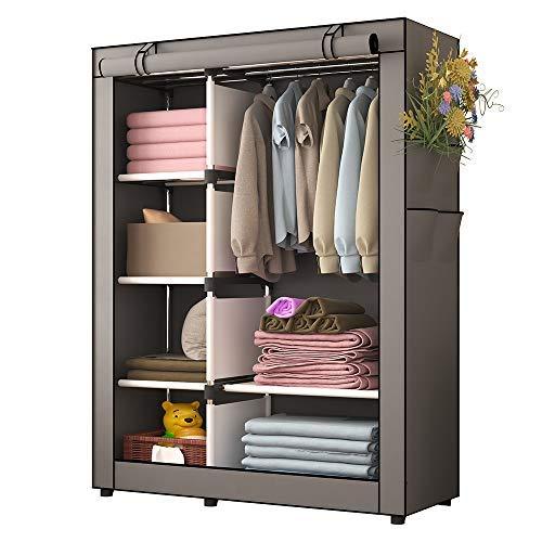 Udear armadio per camera da letto in tessuto non tessuto armadio per vestiti organizzatore per abbigliamento grigio 105 * 45 * 170 cm
