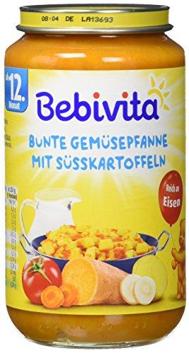 Bebivita Bunte Gemüsepfanne mit Süßkartoffeln, Menüs ab 12 Monat, 6er Pack (6 x 250 g)